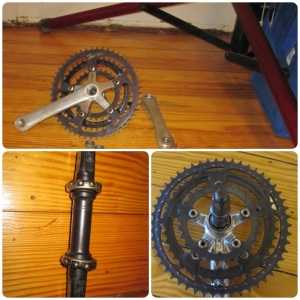 Suntour XCE Crank with crank arm and spindle with bearings