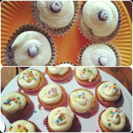 Lemon blueberry cupcakes with lemon cream cheese frosting, and strawberry cupcakes with buttercream