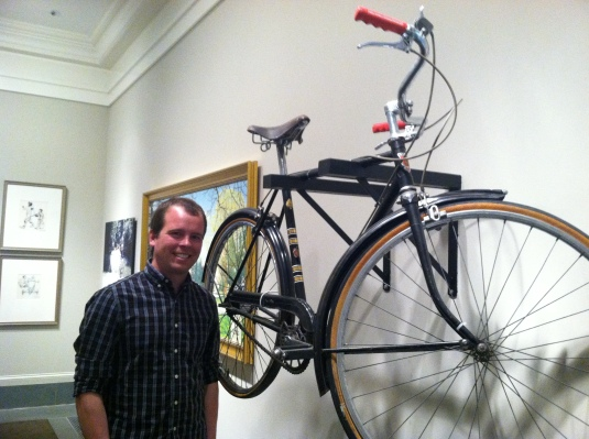 Kevin next to Norman Rockwell's 1965 Rudge--Kevin has the same one at home