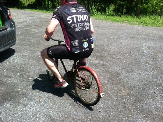 Kevin playing with his newest bicycle project...Sporting the new Fats in the Cats jersey
