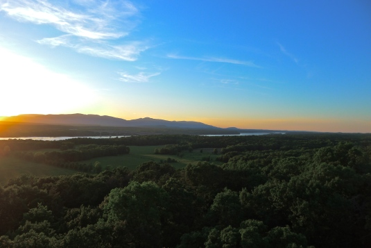 View of sunset behind the Catskill Mountains