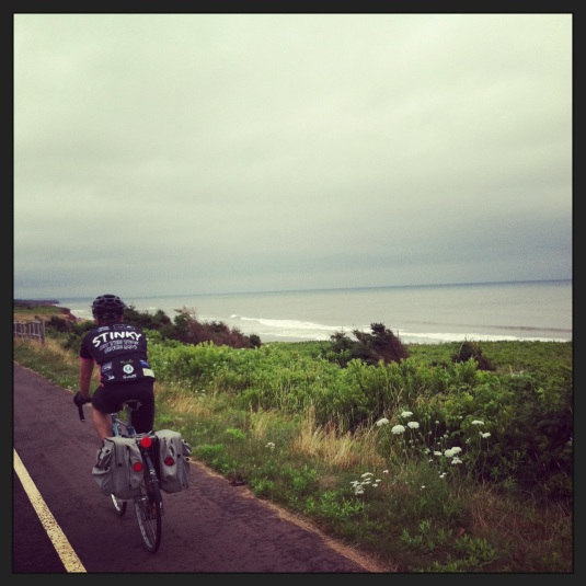 Riding from North Rustico to Cavendish through PEI's Provincial park