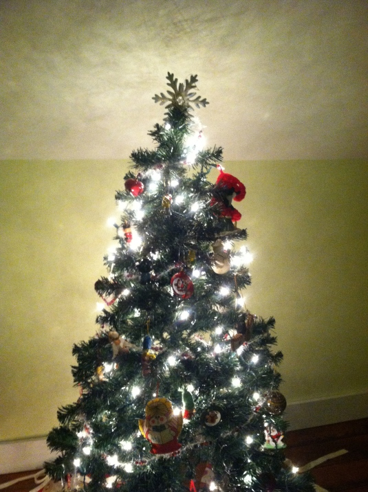Kevin's tree--he chose for a snowflake to be the tree topper this year instead of a nutcracker.