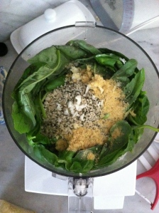 Making the pesto