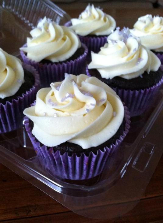 GF/V Chocolate Lavender Cupcakes