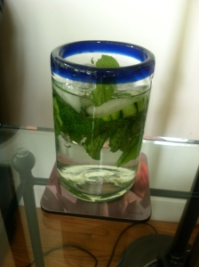 My new addiction: water with mint and cucumber (and, I don't even like cucumber!)