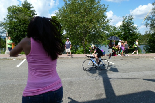 My favorite picture: this is my friend Jen cheering me on!